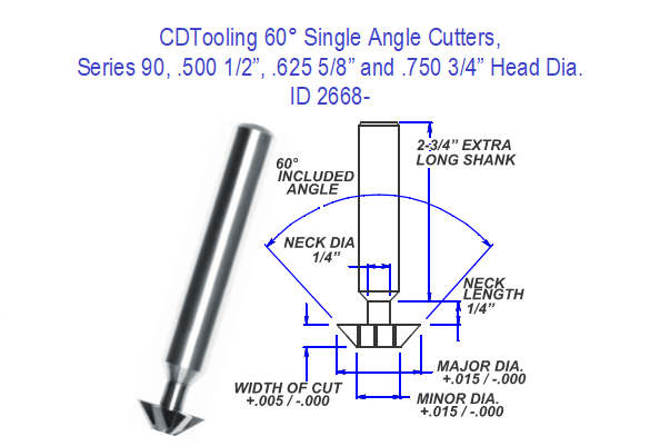 60 Degree Single Angle Carbide Cutter 1/2, 5/8, 3/4, Head Diameter Series 90 ID 2668-